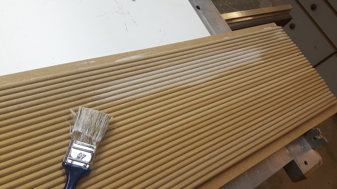 The mdf bead molding is sealed with mdf sealer to fill the pores and ...